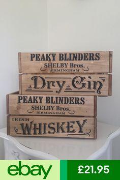 Wooden Peaky Blinders By Order Birmingham Irish Whiskey Dry Gin Crate Box Party Peaky Blinders Theme, Cha Bar, Dry Gin, Irish Whiskey, Couple Shower, Wood Ideas, Bar Ideas, Storage Boxes, Birmingham