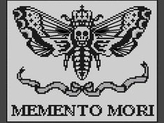 """decorate shop Decorate your space with this beautiful, creepy cross stitch picturing a death's-head hawkmoth with a crown and ribbon bow. """"Memento Mori"""" is a Latin phrase meaning """"rememb Memento Mori, Cross Stitching, Cross Stitch Embroidery, Embroidery Patterns, Hand Embroidery, Pixel Art, Cross Stitch Designs, Cross Stitch Patterns, Cross Stitch Kits"""