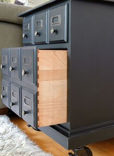 How to Make a Faux Card Catalog From a Hardware Organizer Rustic Wood Furniture, Farmhouse Furniture, Repurposed Furniture, Unique Furniture, Home Furniture, Furniture Plans, Furniture Catalog, Western Furniture, Kitchen Furniture