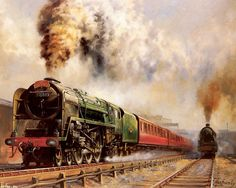 Railroad Art : Steam Train Painting by Howard Fogg 2 Steam Art, Old Steam Train, Train Art, Train Pictures, Free Pictures, Railway Posters, Old Trains, Train Engines, Train Journey