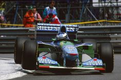 Michael Schumacher enroute to winning the 1994 Monaco F1 Grand Prix.  I was there- it was my only F1 til the current day.