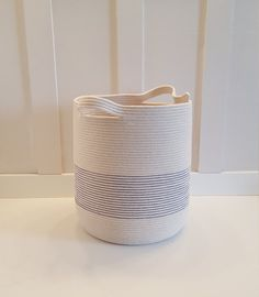 Extra Large Royal Blue Striped Rope Basket by PrairieStMercantile