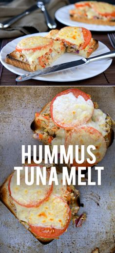 This hummus tuna melt are a light and healthy version of the diner classic.