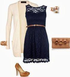 Navy blue lace dress inspiration | Fashion World