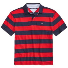 Tommy Hilfiger Men's Big & Tall Logan Striped Cotton Polo ($24) ❤ liked on Polyvore featuring men's fashion, men's clothing, men's shirts, men's polos, tango red, mens polo shirts, mens red striped shirt, mens big and tall polo shirts, men's cotton polo shirts and mens red shirt
