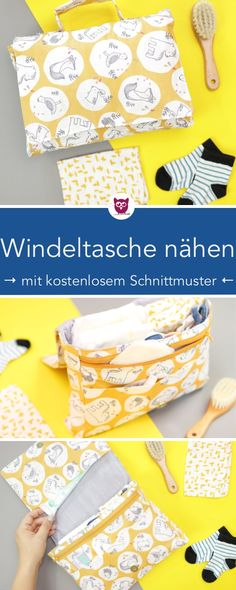 Sew nappy bag with free sewing pattern- Windeltasche nähen mit kostenlosem Schnittmuster Diaper bag sewing with free pattern [advertising] - Sewing Patterns Free, Free Sewing, Free Pattern, Pattern Sewing, Fabric Sewing, Cloth Diapers, Burp Cloths, Poncho Crochet, Diy Tutorial