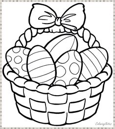 Easter Eggs and Basket Coloring Pages Easter Coloring Pages Printable, Minion Coloring Pages, Easter Bunny Colouring, Easter Egg Coloring Pages, Cross Coloring Page, Cool Coloring Pages, Flower Coloring Pages, Easter Printables, Coloring Book