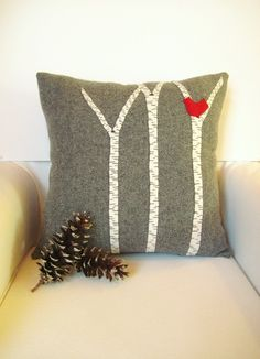 Decorative Pillow / Birch Tree Pillow / Wool Pillow / Red Bird Pillow / Wool Fabric Applique / Rustic Pillow. $49.00, via Etsy.