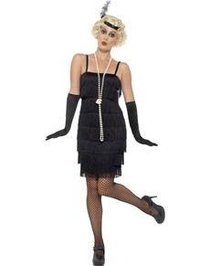 Costume da dama in nero anni '20 per donna