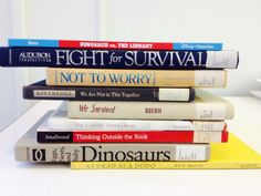 """""""Extinction?"""" - Dinosaur vs. the library / Fight for survival / Not to worry / We are not in this together / We survived / The evolving virtual library / Thinking outside the book / Dinosaurs / As dead as a dodo #butlerbookspine #libraries"""