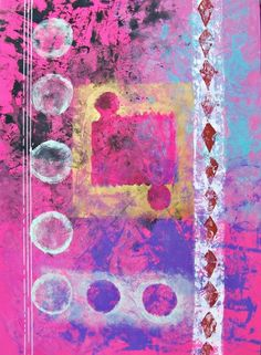 Hot pink purple and gold original art circles and by MyMexicanArt, $125.00