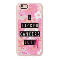 I Kicked Cancers Butt Block Floral Breast Cancer Awareness  - iPhone... (1.140 UYU) ❤ liked on Polyvore featuring accessories, tech accessories, phone cases, phone, case, cover, iphone case, apple iphone case, clear iphone case and iphone hard case