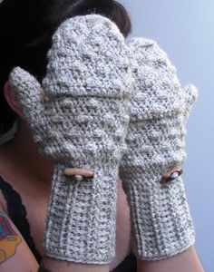 Convertible crochet fingerless glove mittens in Oatmeal by luvbuzz, $40.00