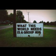 Group hug time without pants. :)