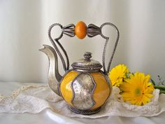 Vintage Decorative Teapot Moroccan Ceramic Teapot by cynthiasattic