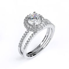 Simple 1 Carat CZ Solitaire Halo Engagement Rings Matching Bridal Wedding Set Sterling Silver Rhodium Plated