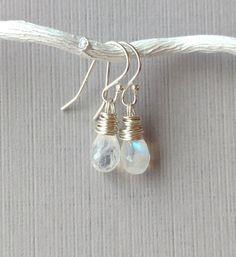 Tiny Moonstone Sterling Teardrop Earrings Genuine by APerfectGem  $27 #moonstones #healingstone #moonstone earrings #etsyhandmade #etsyearrings #genuinestones #aperfectgem
