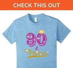 Kids 90 and Fabulous 90 years old B-day 90th Birthday Gift 6 Baby Blue - Birthday shirts (*Amazon Partner-Link)