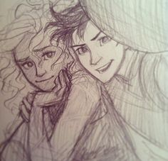 """""""Percy, your thumb is covering the camera lens."""" Percabeth. <3 art by Burdge"""