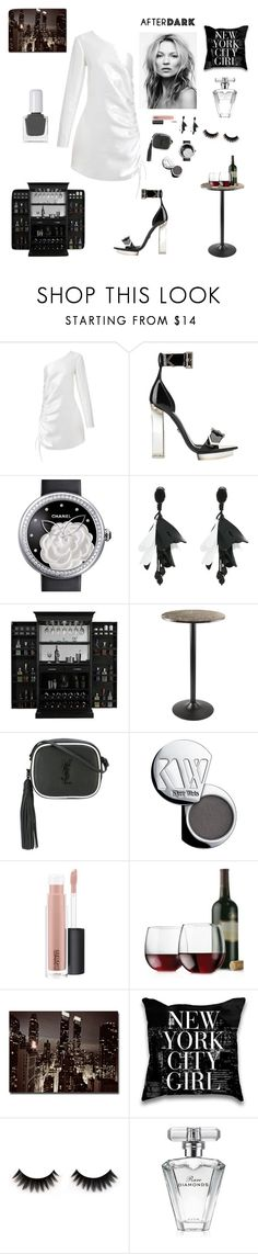 """""""Nightlife in the City"""" by kotnourka ❤ liked on Polyvore featuring Georgia Alice, Versace, Chanel, Oscar de la Renta, American Heritage Billiards, Winsome, Yves Saint Laurent, Kjaer Weis, MAC Cosmetics and Libbey"""
