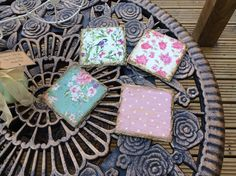 hand decorated slate coasters farmhouse cottage rustic themed by DottyCottage1 on Etsy