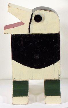 [Joaquín Torres García (Uruguay,1874–1949), 'Gran Cuervo', 1920, Painted wood, 13 x 12 x 2.25 inches, Ella Fontanals-Cisneros Collection] Art, Contemporary Art, Bird, Birds, Sculpture, Latin American Art