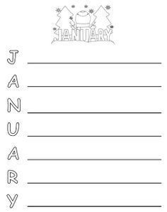 January acrostic poem for Kindergarten, 1st grade, or 2nd grade writing