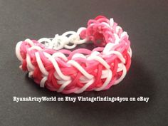 Pink White Red Candy Cane Inspired Handmade Rainbow Loom Rubber Band Bracelet   eBay