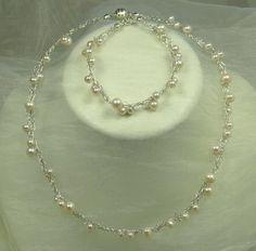Brautschmuck set silber  Brautschmuck Set Y förmig Blüten Perlen 925 Silber | Produkte