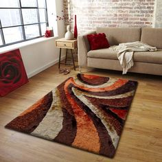 Contemporary designer shag area rugs are made with the finest quality of yarn for long lasting durability and easy clean. Exquisite colors and sophisticated hand carved designs, of the finest silk-lik