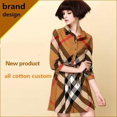 2014 Spring summer dress new fashion cotton women dresses plaid casual dress