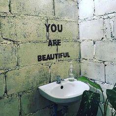 You are beautiful. You are special. Cafe Shop Design, Cafe Interior Design, Deco Restaurant, Foto Art, You Are Beautiful, Beautiful Smile, Banksy, Wall Collage, Coffee Shop
