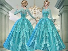 Turquoise lace dress formal  Found in TSR Category 'Sims 4 Female Formal'