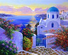 'Santorini Serenade' by Graham Denison. Watercolor Landscape, Landscape Art, Landscape Paintings, Watercolor Paintings, Greek Paintings, Greece Art, Art Carte, Beach Art, Pictures To Paint