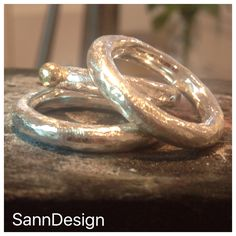 "Rough and beautiful rings  4mm silver ring - 1499:- sek and 4mm silver ring with gold ""ball"" - 1899:- sek...Order at info@sanndesign.se"