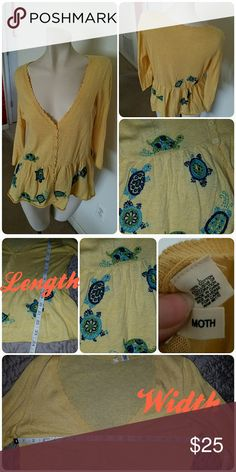 Adorable Turtle Cardigan by Moth for Anthropologie Lightweight pale yellow cardigan with cute embroidered turtles. Gently worn once or twice. Moth for Anthropology. Anthropologie Sweaters Cardigans