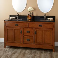 Cool vanity wooden bathroom furniture with black top frameless oval wall mirror decoration Open Bathroom Vanity, Bathroom Vanity Designs, Double Sink Vanity, Wooden Bathroom, Wood Vanity, Bathroom Furniture, Vanity Cabinet, Bathroom Vanities, Sinks