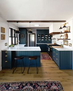 Navy Kitchen with a Stunning Built-in – Semihandmade Navy Kitchen, Old Kitchen, Kitchen Decor, Kitchen Layout, Navy Cabinets, Kitchen Cabinets, Green Cabinets, Ikea Cabinets, Custom Kitchens