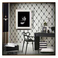 """Monochrome !!"" by eco-art ❤ liked on Polyvore featuring interior, interiors, interior design, home, home decor, interior decorating, Graham & Brown, Ligne Roset, NOVICA and Coalesse"