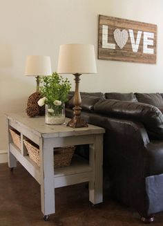 Its time for Friday DIY- Your Very Own Barn Inspired Console Table