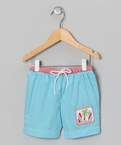 Look at this Fairies Kid Teal Gingham Surfboard Swim Trunks - Infant & Toddler on #zulily today!