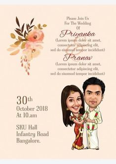 Personalised wedding caricature invitation from gifterman . We have the plenty of themes available ,choose your theme and give the matter .We will make the wedding invitation Engagement Invitation Cards, Marriage Invitation Card, Indian Wedding Invitation Cards, Wedding Invitation Video, Wedding Invitation Card Design, Creative Wedding Invitations, Invites, Wedding Invitation Templates, Wedding Card Design Indian
