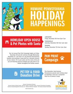 Join us on Friday, December 5th from 5PM to 7PM at the Humane League of Lancaster County for light refreshments and pet photos with Santa! Please have all pets secured on a leash or carrier!  We will also be collecting donations for homeless and needy pets during the month of December! Help the Humane League of Lancaster County spread some Holiday cheer by donating a new toy or unopened food for an animal in need!