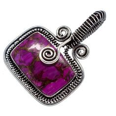 "Huge Purple Copper Composite Turquoise 925 Sterling Silver Pendant 1 3/4"" PD556339"
