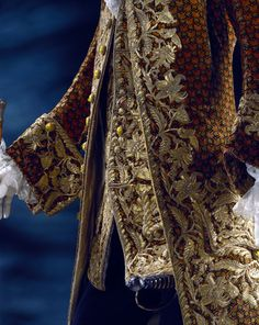 Coat and waistcoat, detail. France, 18th century. A lot of unpicking to do on this coat and waistcoat!!! Happily for us it survived!!!