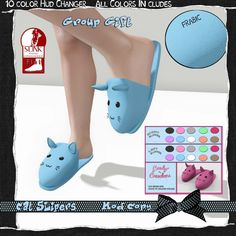 Cat Fabric Slippers Second Life Gift. Second Life Freebies, Group Gifts and Lucky Letters. Cute cat fabric slippers with a HUD with all colors included