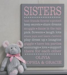 Sister Decor Sister Wall Art Sign Girls Bedroom by NelsonsGifts Twin Girls, Baby Girls, Girl Bedroom Walls, Bedroom Decor, Bedrooms, Bedroom Ideas, Baby Bedroom, Nursery Ideas, Bedroom Furniture