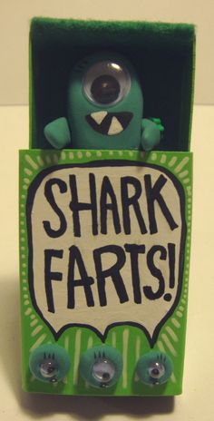 Shark Farts Tiny Monster Box Magnet. $12.00, via Etsy.