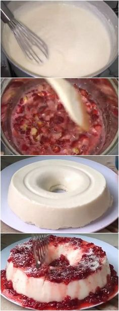 MANJAR DE COCO COM CALDA DE MORANGO,NÃO TEM COMO RESISTIR ❤️ VEJA AQUI>>>EM UMA PANELA COLOCAR O LEITE ,MAIZENA,COCO,LEITE... #receita#bolo#torta#doce#sobremesa#aniversario#pudim#mousse#pave#Cheesecake#chocolate#confeitaria