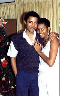 Barry & Girlfriend Michelle (later President Barack Obama and First Lady Michelle Obama) Christmas 1988